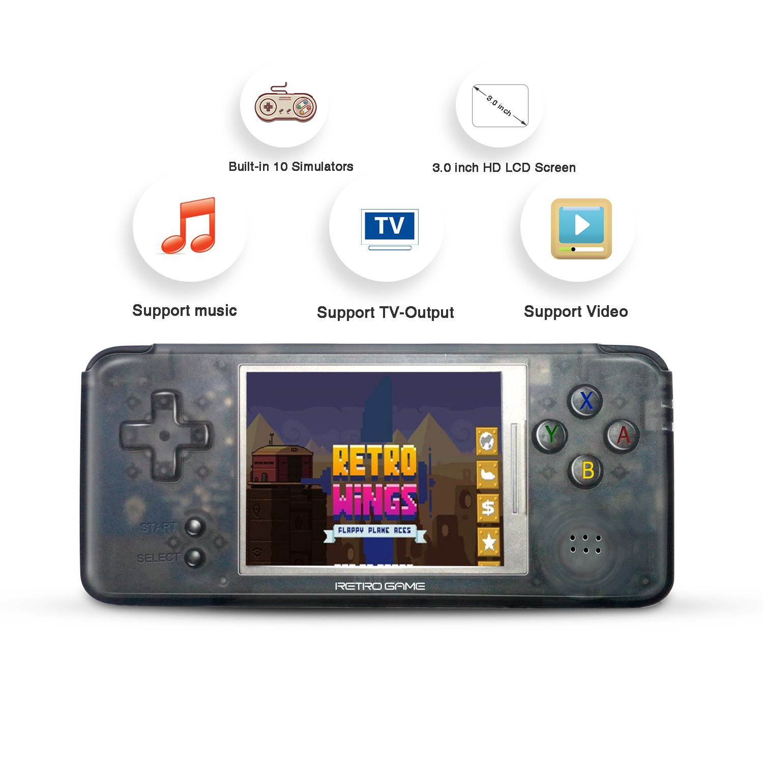 Handheld Game Console, Retro Game Console 3 Inch HD Screen 3000 Classic Game Console ,Portable Video Game Great Gift for Kids (Black) by BAORUITENG (Image #4)