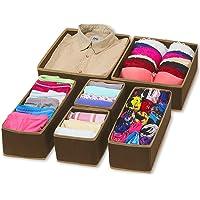 Styleys Foldable Storage Box/Drawer Organizer with Lid Cover for Innerwear, Clothing, Underwear, Bra, Socks, Tie, . (Set…