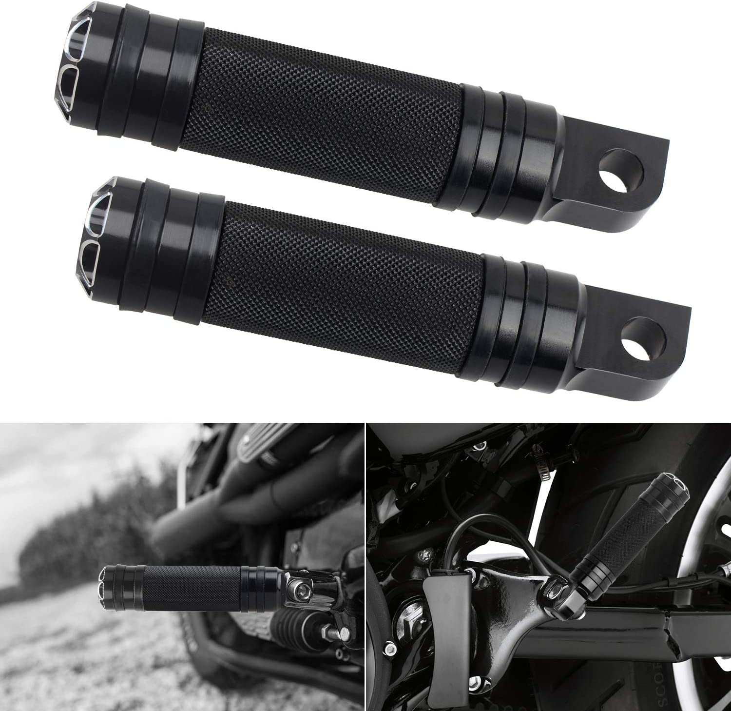 NTHREEAUTO Black Mounting Footpegs Male Billet Footrests Motorcycle Passenger Pedals Compatible with Harley Sportster Road King Dyna