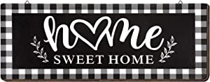 Wooden Home Sign Wall Decor, Rustic Buffalo Plaid Sweet Home Wall Sign, Black and White Home Vintage Farmhouse Style Decoration for Indoor and Outdoor