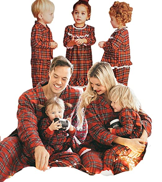 b61d630a07 Amazon.com  Christmas Family Pajamas Matching Sets Red Plaid Print Pajama  PJS Sets for Mom Dad Kid Infant Baby  Clothing