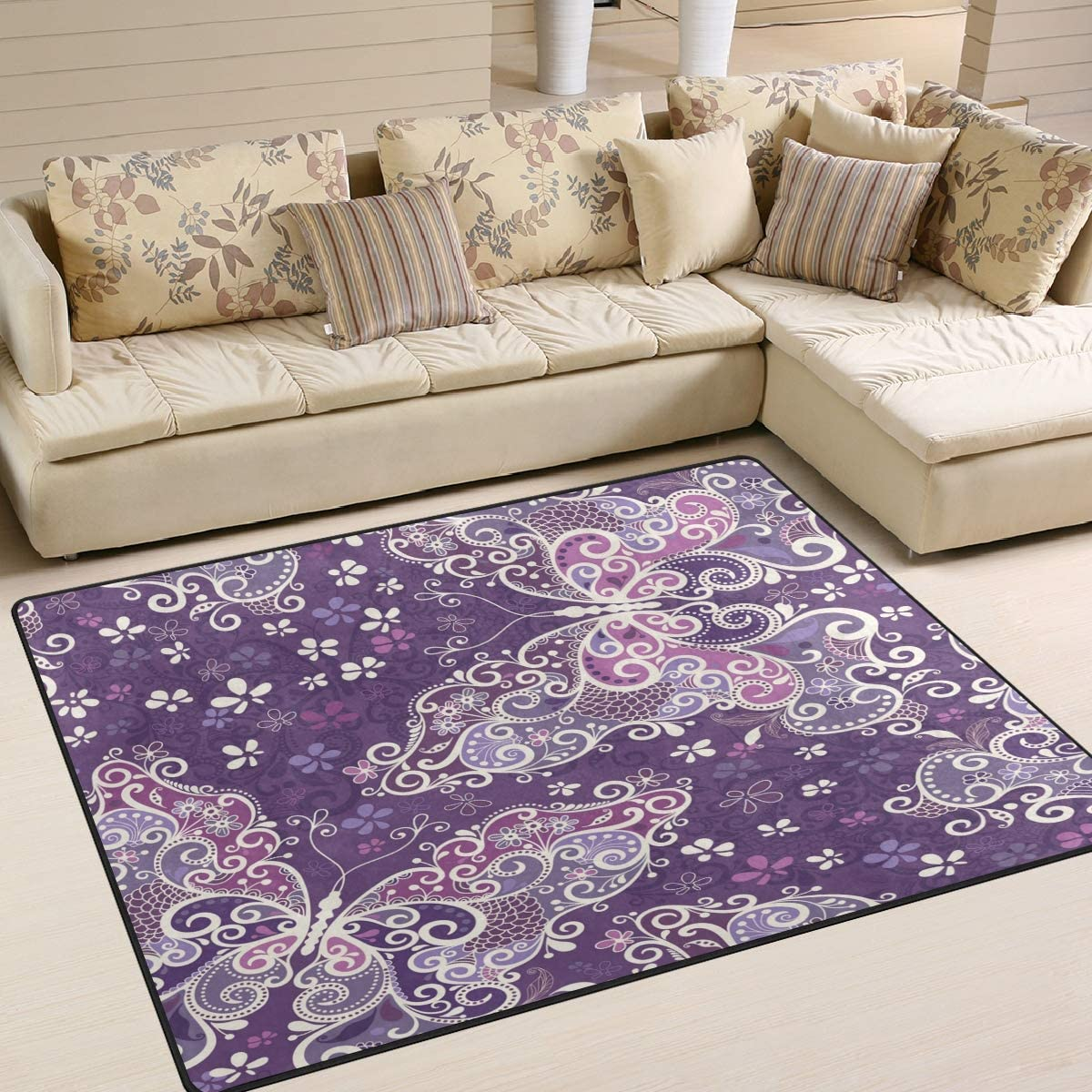 ALAZA Purple Butterfly Floral Print Area Rug Rugs for Living Room Bedroom 7 x 5