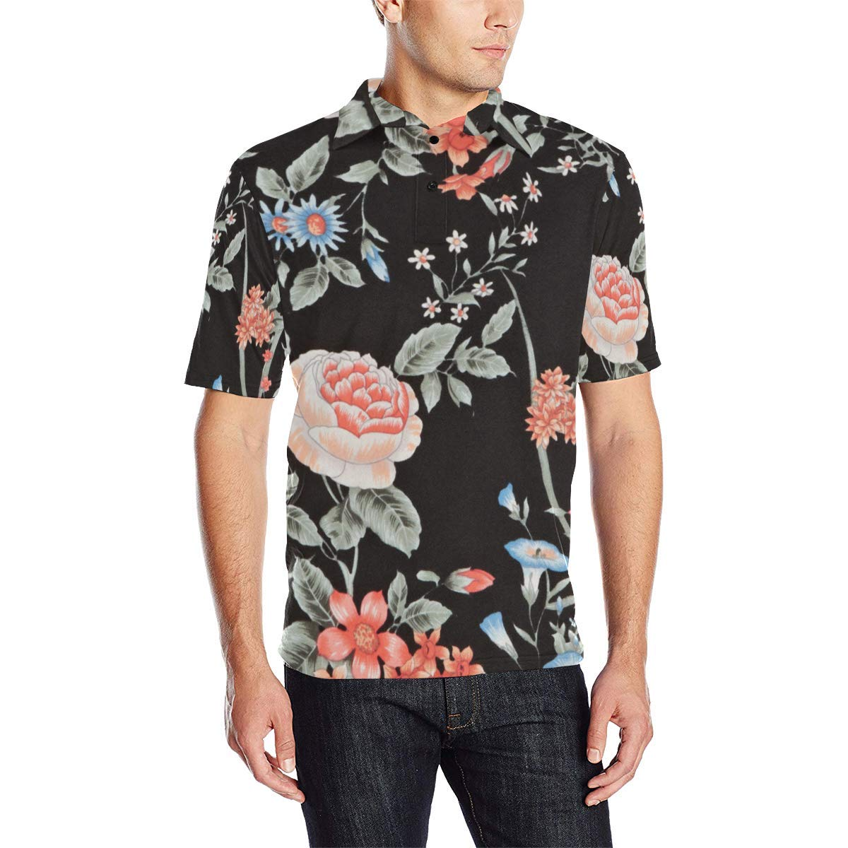 COL DOM Short Sleeve Japanese Floral Flowers Mens All Over Print Polo Shirt