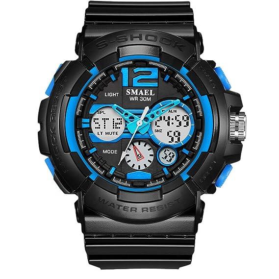 Beydodo Reloj Deportivo Relojes Electronicos Reloj Impermeable Reloj de Doble Pantalla Relojes LED Reloj Hombre Luminoso Azul: Amazon.es: Relojes