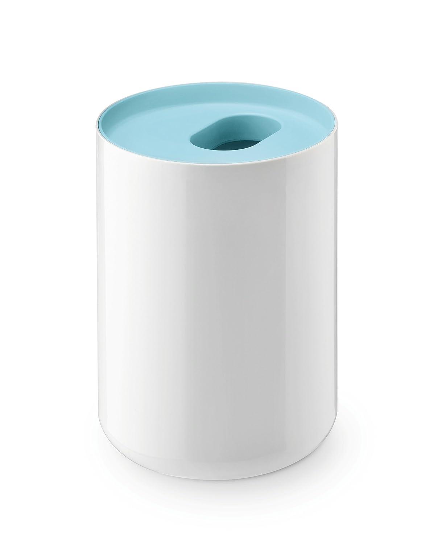 Papelera de baño minimalista, color blanco y azul