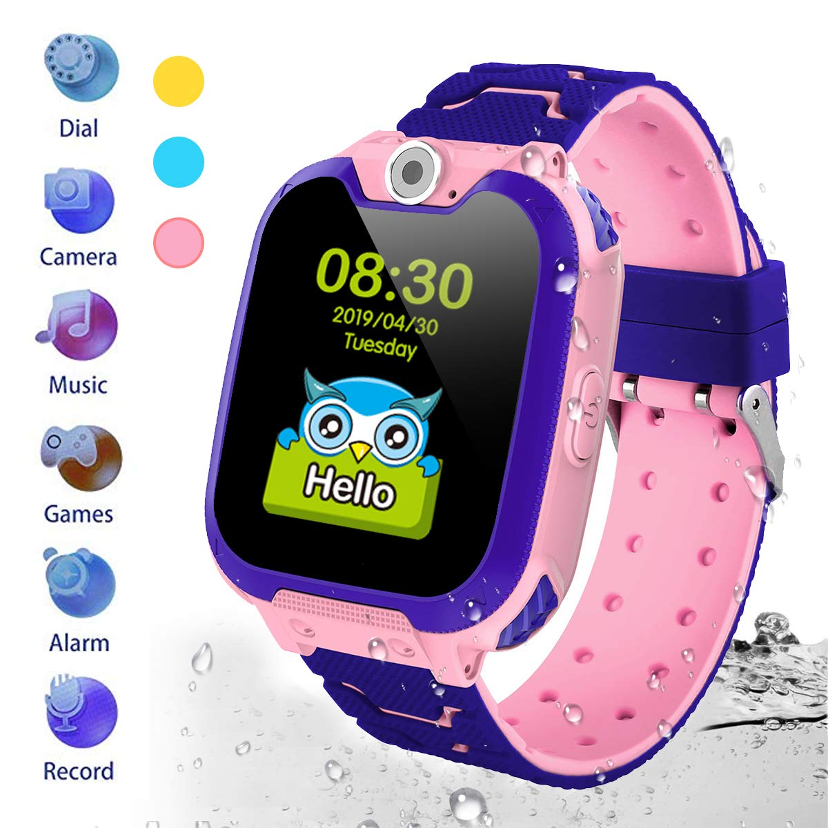 Kids Waterproof Smartwatch [SD Card Included],1.54 inch Colorful Touch Screen Smartwatch for Children with Quick Dial, Camera and Music Player,Calculator and Alarm for Boys and Girls(NOT SUPPORT AT&T) by HuaWise (Image #1)