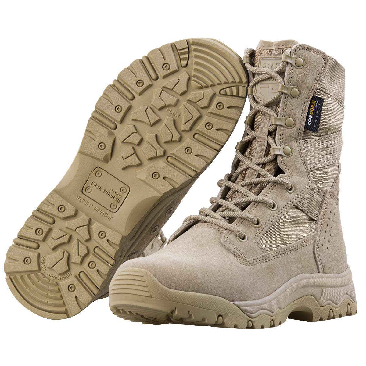 FREE SOLDIER Mens Tactical Boots 6 Inches Lightweight Combat Boots Durable Hiking Boots Military Desert Boots