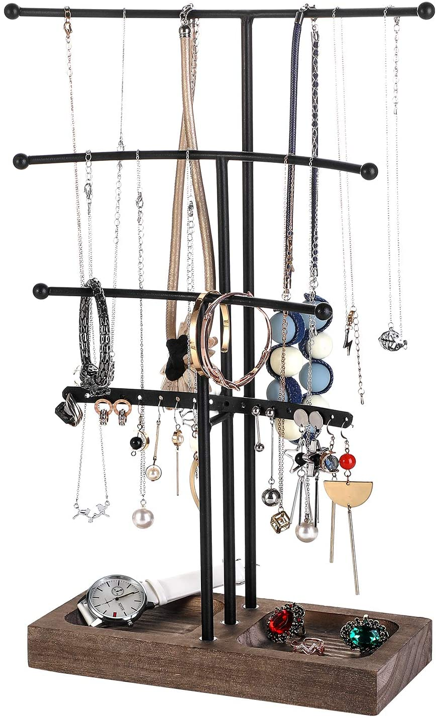 Urban Deco Arc Jewelry Holder— 4 Tier Jewelry Organizer Stand With Black Wood and Brown Tray For Girls And Women To Organize Necklace, Earrings, Bracelet, Ring, Watch And Hair Tie.