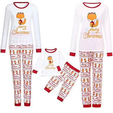 4f13ffa1f4 Amazon.com  Matching Family Pajamas PJS Sets Christmas Sleepwear Cartoon  Letter Fox Print Homewear Adults Kids Pajama Set Outfit  Clothing