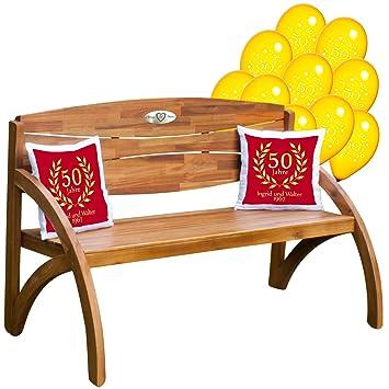 Set Zur Goldenen Hochzeit Kissen Rot Und Gartenbank Holz Mit Personalisierter Gravur Luftballons Zwei Kissen Geschenk Persönliche Geschenke Zur