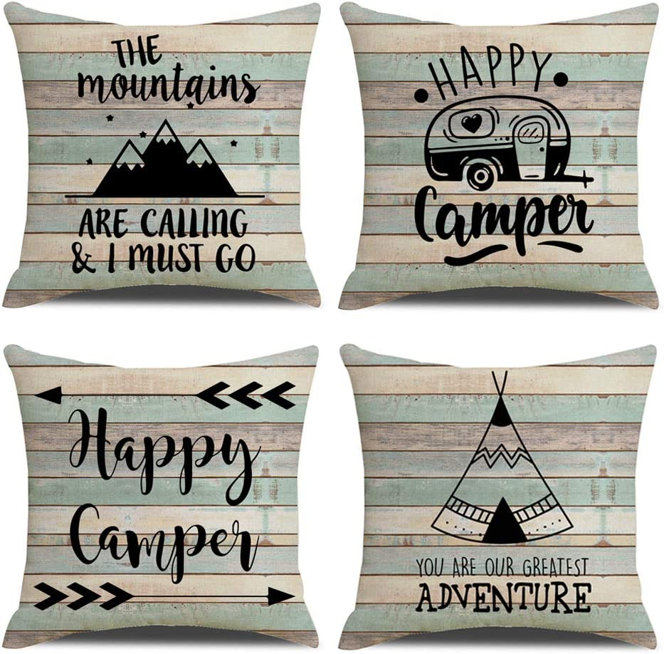 KACOPOL Vintage Rustic Wood Background Happy Camper Pillow Covers Inspirational Quotes Home Outdoor Decorative Throw Pillow Case Cushion Cover 18