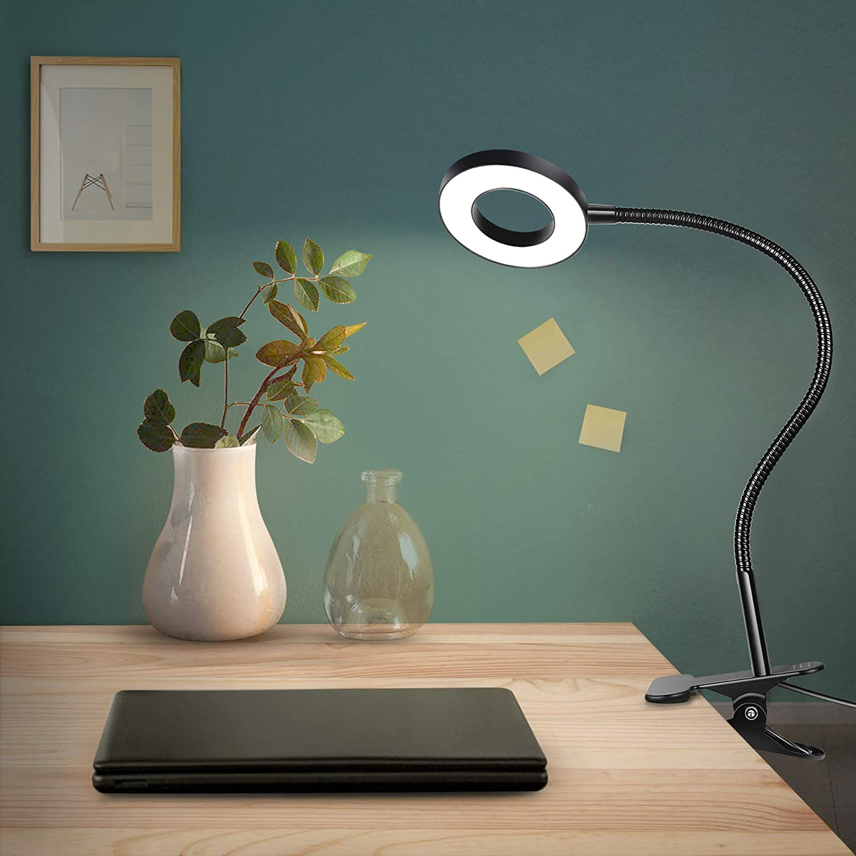 Anpro Lámpara Led,Flexo Pinza Escritorio para Estudiar,Lámpara Clip de Mesa Lectura de 48 LED,3 Colores, 10 Brillos Ajustables, 360 ° Flexible,Lámpara para Sala, Dormitorio