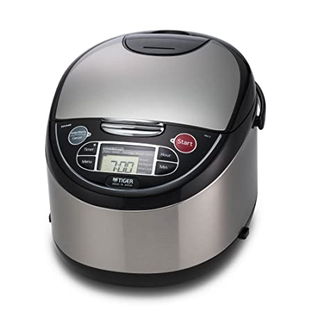 Tiger JAX-T18U-K 10-Cup Uncooked Micom Rice Cooker with Food Steamer Slow Cooker, Stainless Steel Black
