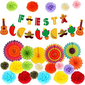 Fiesta Party Supplies - Mexican Party Decoration Pack w/Colorful Tissue Pom Poms, Hanging Paper Fans and Banner - Cinco de Mayo Decor for Taco Tout a Party, Baby Shower, Bachelorette Carnivals - 43pcs