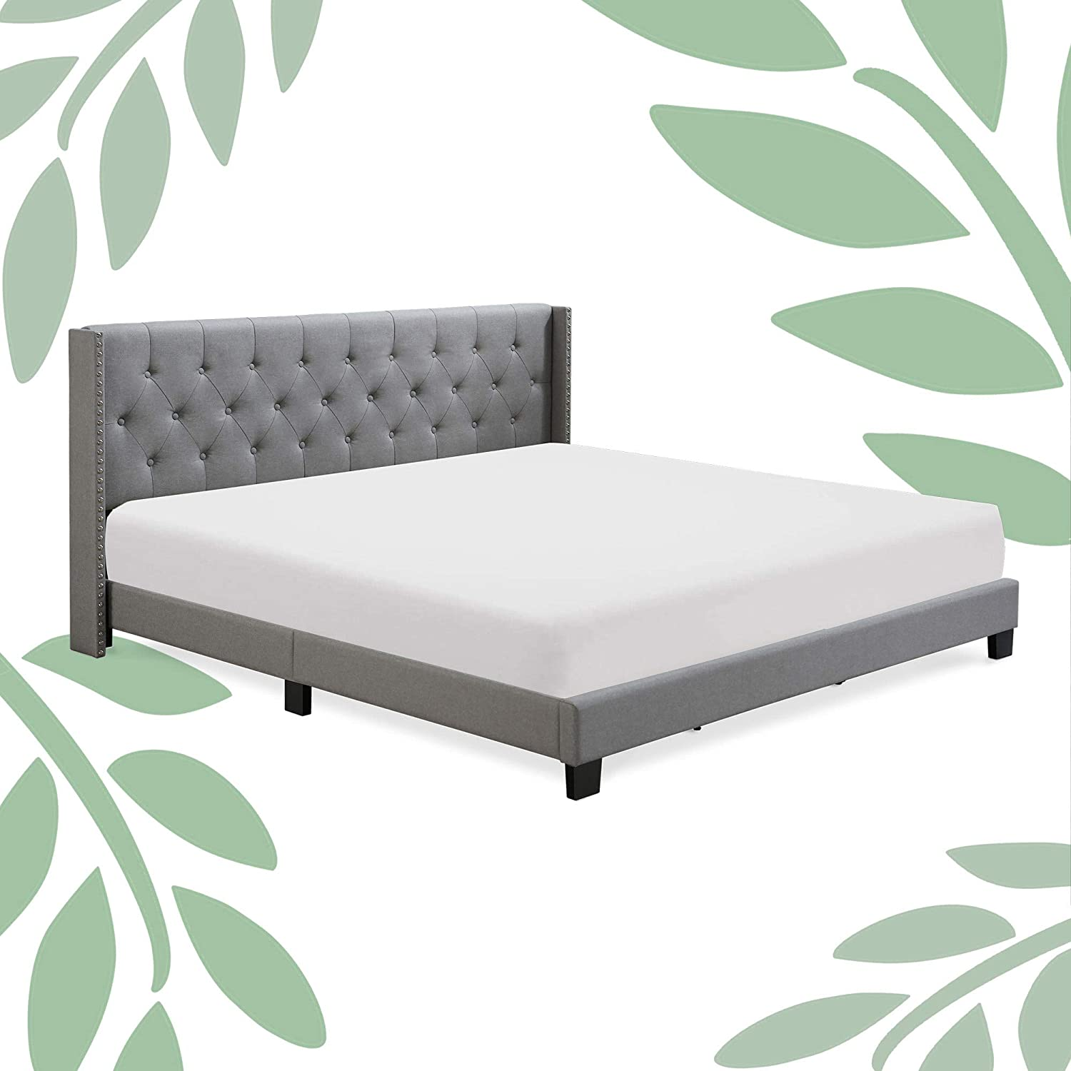 Queen King Full Upholstered Bed Frame With Wood Slat Platform Headboard Mattress