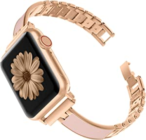 TOYOUTHS Compatible with Apple Watch Band Rose Gold Women 40mm Series 5 4 Stainless Steel Bracelet Replacement Wristband Jewelry Pink Compatible with iWatch Series 3 2 1 38mm(Series 3&4 Gold, 38mm/40mm)