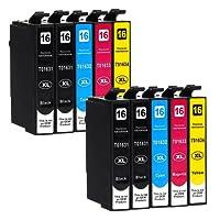 10 Druckerpatronen kompatibel zu Epson 16-XL / T1626 / T1636 (4x Schwarz, 2x Cyan, 2x Magenta, 2x Gelb) passend für Epson WorkForce WF-2010 WF-2500 WF-2510 WF-2520 WF-2530 WF-2540 WF-2630 WF-2650 WF-2660 WF-2700 WF-2750 WF-2760
