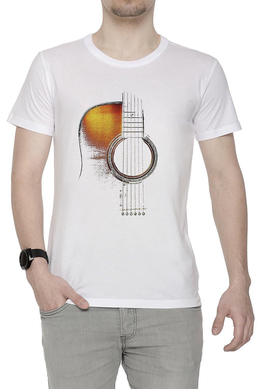 Erido Color Acústico Guitarra Hi-Lite Hombre Camiseta Cuello Redondo Blanco Manga Corta Todos Los Tamaños Mens White: Amazon.es: Ropa y accesorios