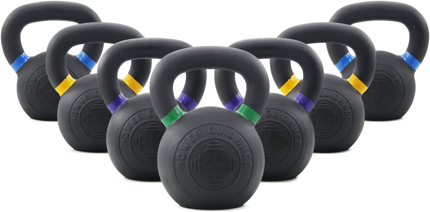 POWER GUIDANCE Cast Iron Kettlebell Weights, Powder Coated, LB and KG Markings, Weight Available 4, 6, 8, 12, 16, 20, 24 Kilograms