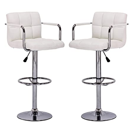 Vogue Furniture Direct White Leather Adjustable Height Swivel Barstool Set with Armrest and Footrest Set of 2 VF1581011-2