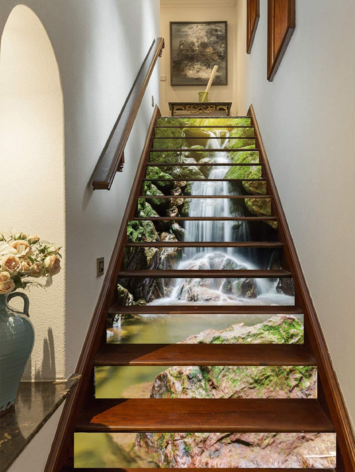FLFK 3D Waterfalls Self-Adhesive Stairs Risers Natural Landscape Mural Vinyl Decal Wallpaper Stickers Decor Decals 39.3Inch x7.08Inch x 13PCS