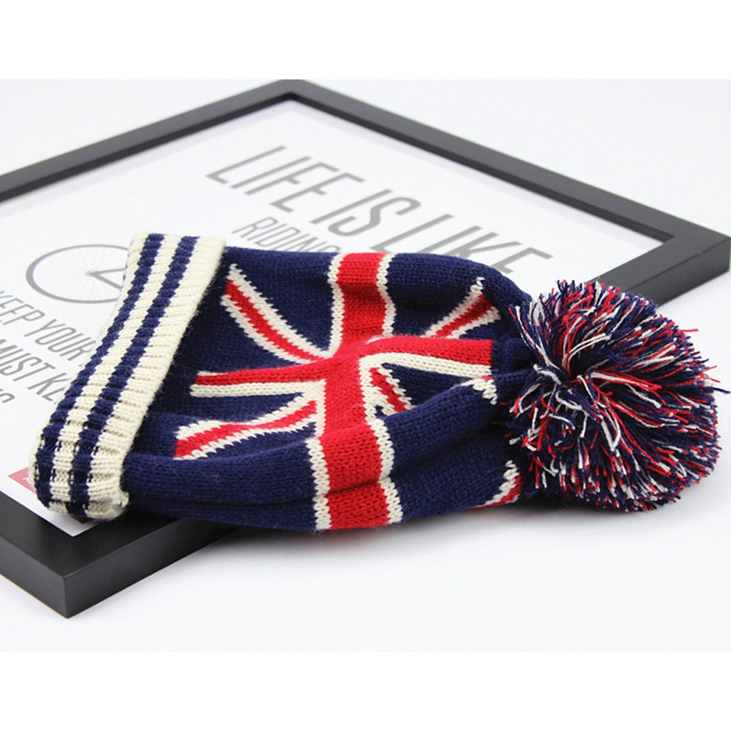 Raylans Women Men Crochet Knitted Ball Stripe Stars Winter Warm Beanie Hat Ski Cap,British Flag by Raylans (Image #4)
