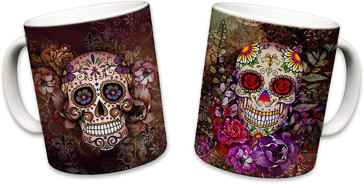 Sweet Gisele | 2 Mug Set | Sugar Skull Mugs | Ceramic Floral Print Coffee Cup | Day of the Dead Design | Beautiful Vivid Colors | Great Novelty Gift | Multicolor Mugs | 11 Fl. Oz (Brown & Purple)