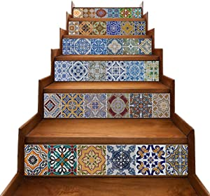 TUOKING 6 pcs Stair Stickers, PVC Home Decor Decals, Self-Adhesive Refurbished Staircase Murals, 39''L x 7''W