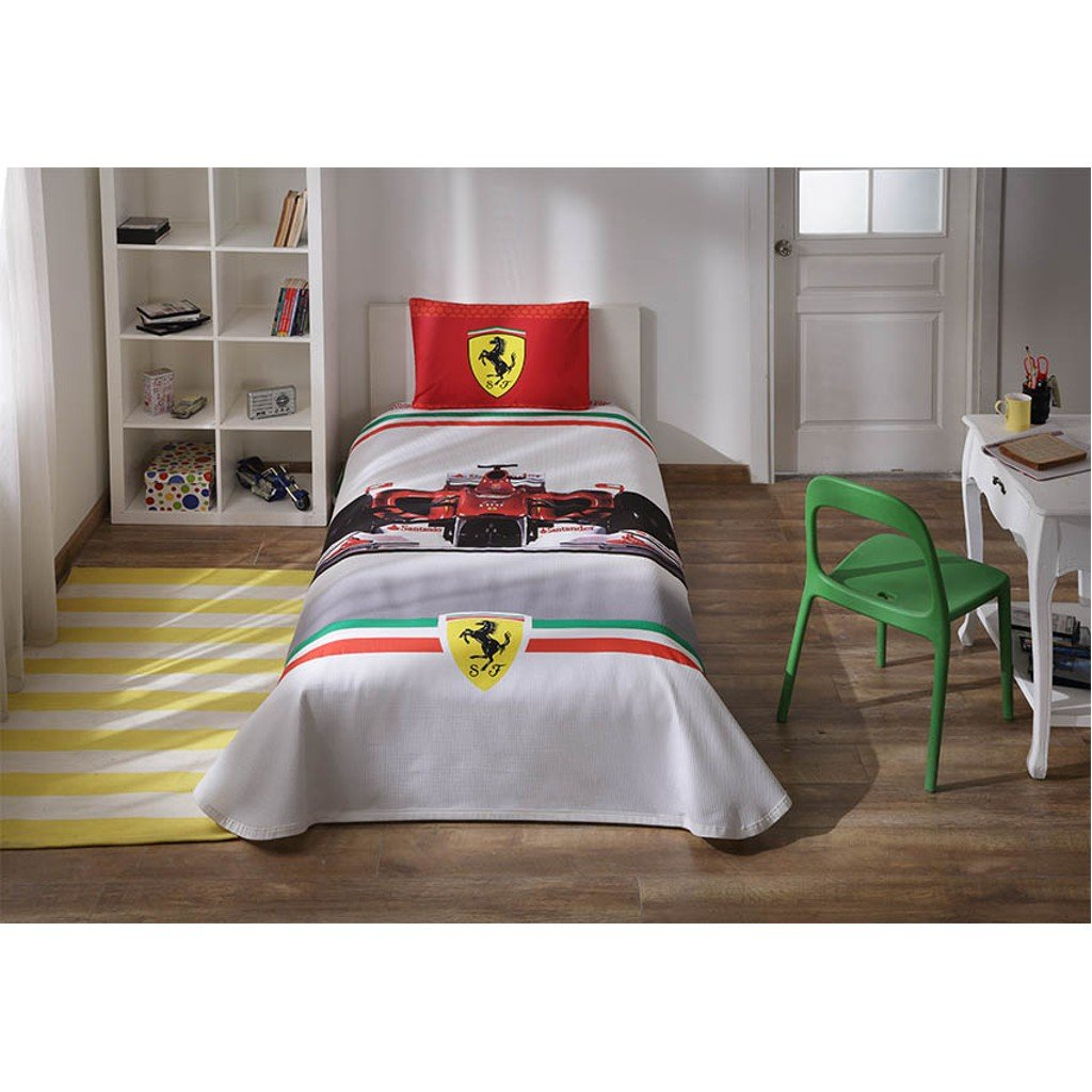 Licensed Ferrari Formula F1 - 3 Pcs Twin / Single Size %100 Cotton Kid's Bedspread Sets Bedding Linens