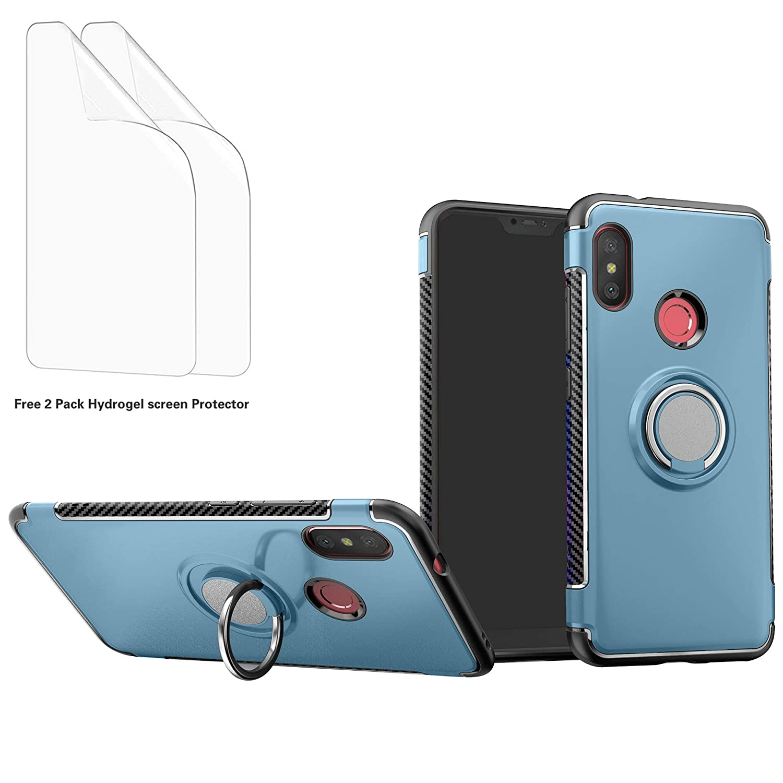 -Plata Liudashun Funda Xiaomi Redmi Note 6 Pro Armor Carcasa con 360 Anillo iman Soporte Hard PC Silicona TPU Bumper antigolpes Fundas Carcasas Case 2 Piezas Hidrogel Protector de Pantalla
