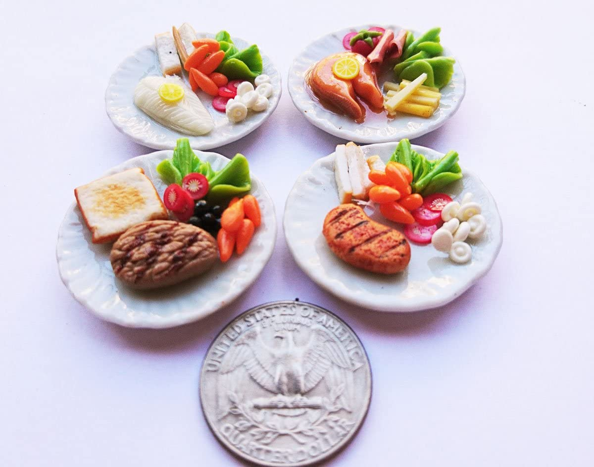 Thai 4 Steak Mix Dollhouse Miniature Food,Tiny Food,Doll Collectibles,Doll Food