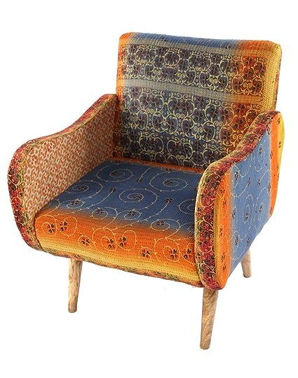 Genial Karma Living SYPC400_177C Lounge Kantha Chair, 27u0026quot; X 28u0026quot; X  33u0026quot;,