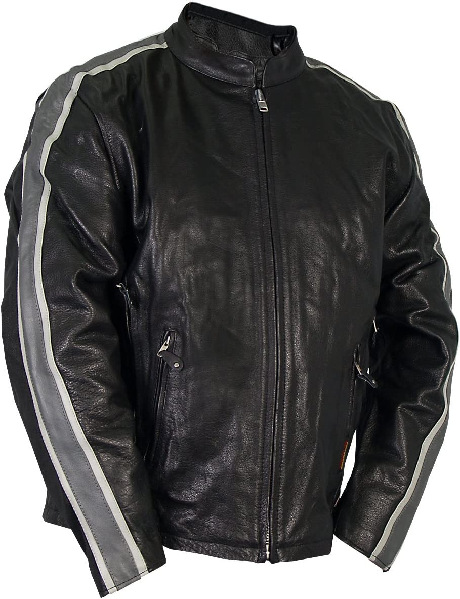 Hot Leathers #47 Leather Jacket with Arm Stripes Black, Size 40