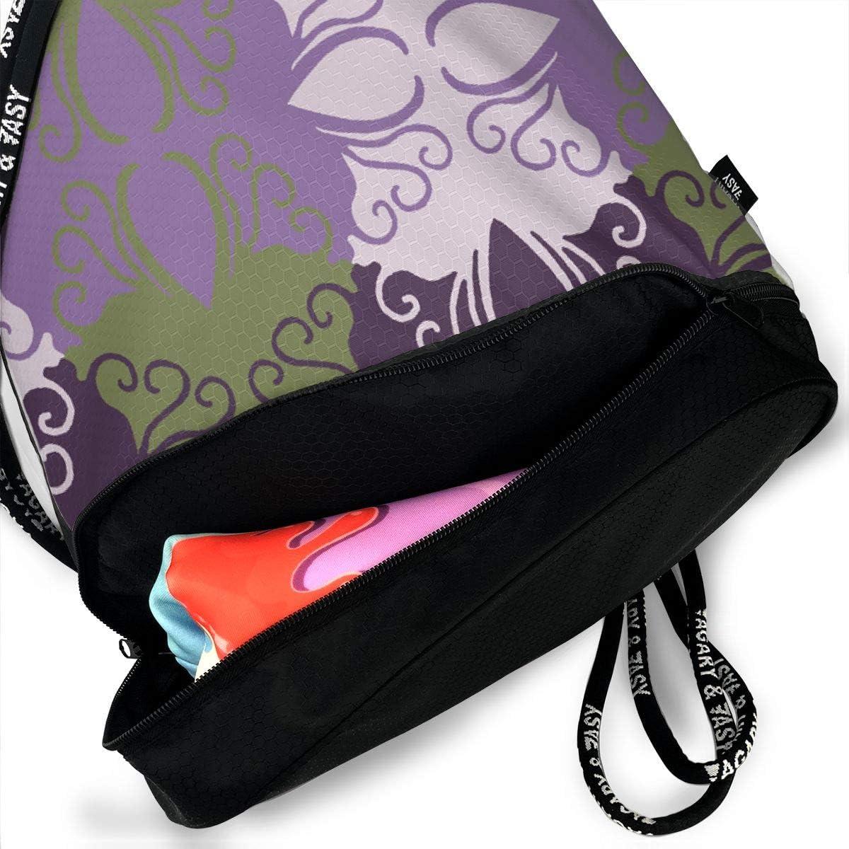 Purple Cutwork Drawstring Backpack Sports Athletic Gym Cinch Sack String Storage Bags for Hiking Travel Beach