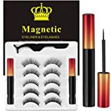 Magnetic Eyelashes, 3D Upgraded Reusable Magnetic Lashes, Waterproof Eyeliner and Volume Lashes, Magnetic Eyelashes and Eyeli