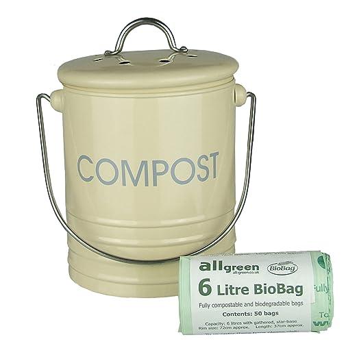 cream metal mini kitchen compost caddy u0026 50x allgreen biobags composting bin for