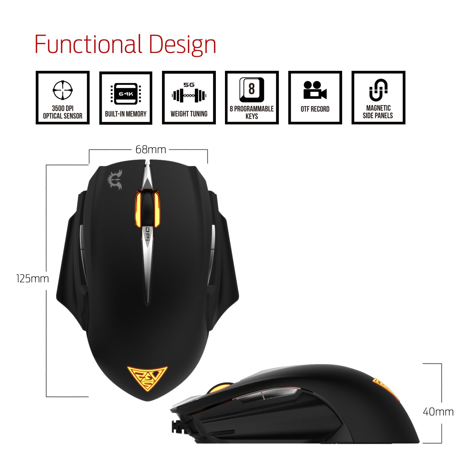 GAMDIAS Erebos GMS7500 Optical MOBA Gaming Mouse, 3 Set Ambidextrous  Adjustable Side Panels Weight System, 7 Programmable Buttons, 8200 DPI for PC by GAMDIAS (Image #2)