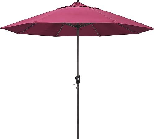Amazon Com California Umbrella Ata908117 5462 9 Round Aluminum Market Crank Lift Auto Tilt Bronze Pole Sunbrella Hot Pink Patio Umbrella Rd Garden Outdoor