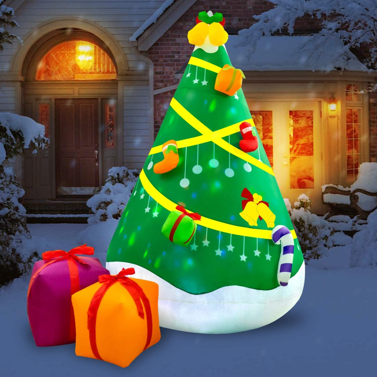 Rocinha Inflatable Christmas Tree, 7.9 FT Christmas Tree Inflatables Blow up Xmas Tree Built-in LED Lights for Christmas Party Indoor Outdoor Yard and Garden Decorations