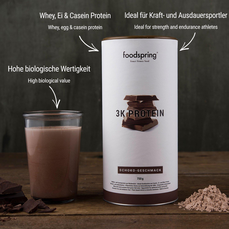 foodspring Proteína 3K, Chocolate, 750g, Mezcla de proteínas para alcanzar un altísimo valor biológico: Amazon.es: Salud y cuidado personal