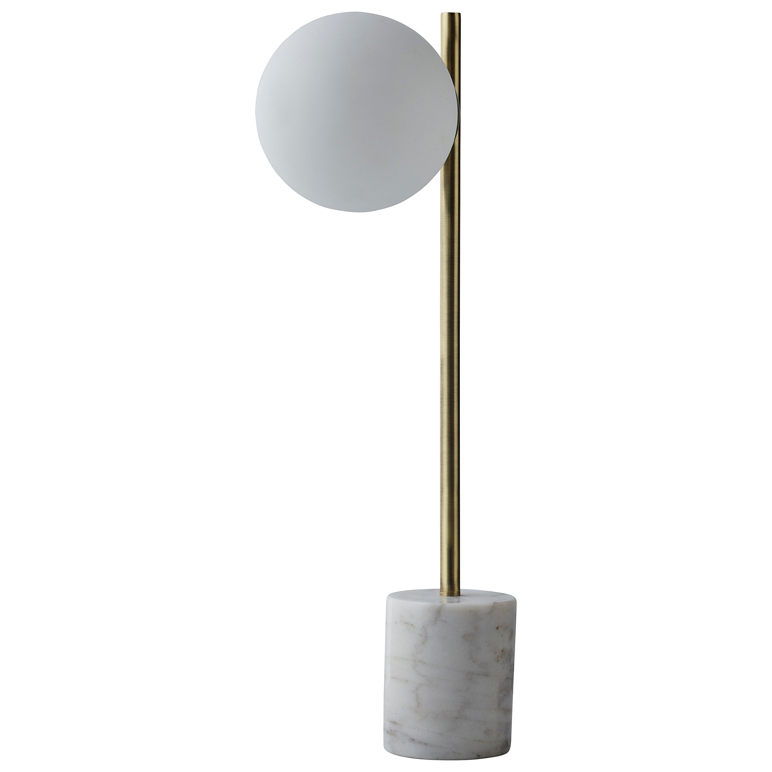 Rivet Modern Glass Globe and Marble Table Lamp with LED Bulb, 23''H, Brass, White by Rivet (Image #7)