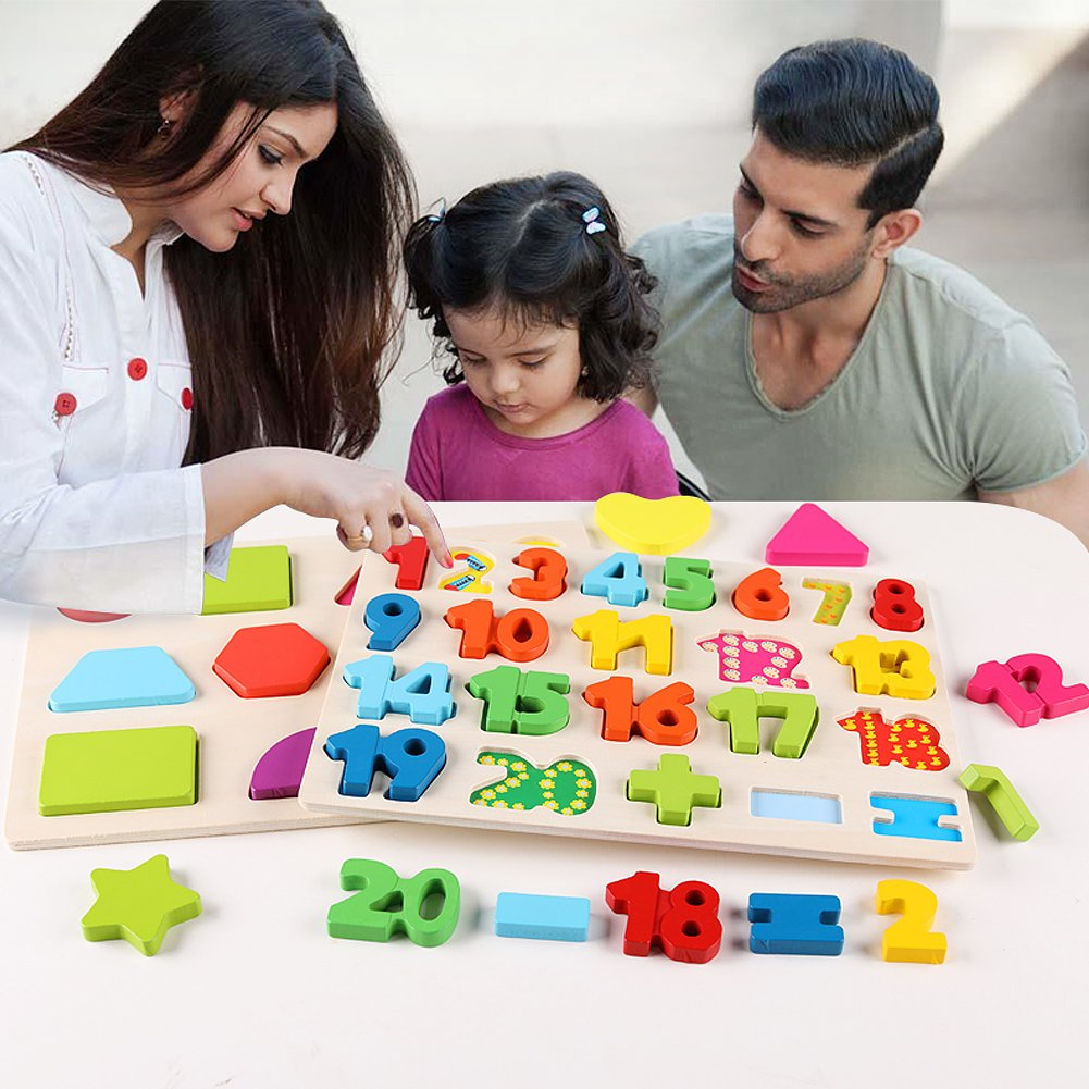 3 in 1 Puzzles for Toddlers 3 Piece Wooden Peg Puzzle Set - Alphabet ABC, Numbers and Shapes Toy - Puzzles for Kids Learning Letters, Number, Shape Board for Toddlers Ages 3+ by QZMTOY