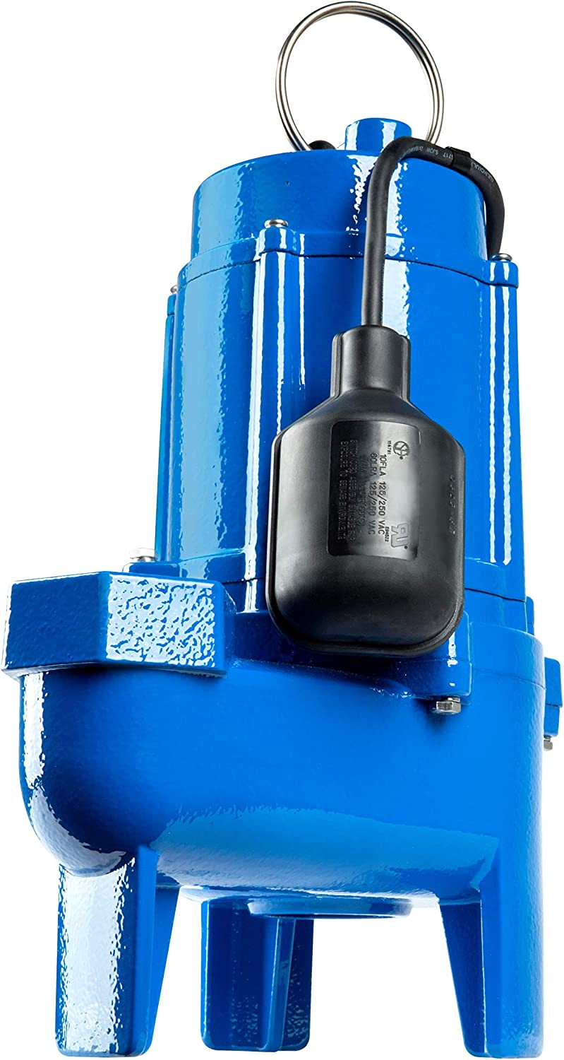 Little Giant LG-SEW50T 1/2 hp Cast Iron Sewage Pump with Tethered Switch, Blue