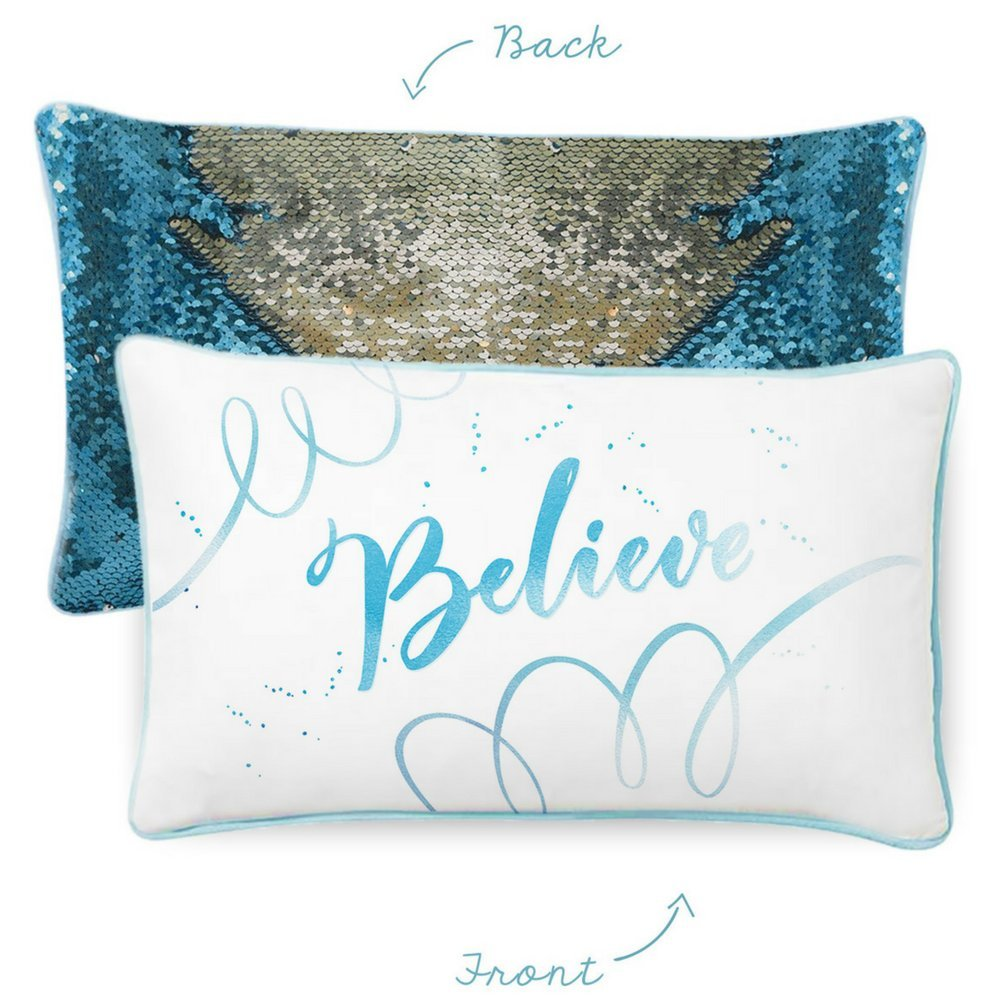 BELIEVE Kids Pillow with Lake Blue & Silver Reversible Color-Changing Mermaid Sequins by Mermaid Pillow Co