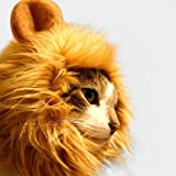 GABOSS Lion Mane Wig Costume for Cat Halloween Dress with Ears Pet Festival Party Fancy Hair Cat Clothes