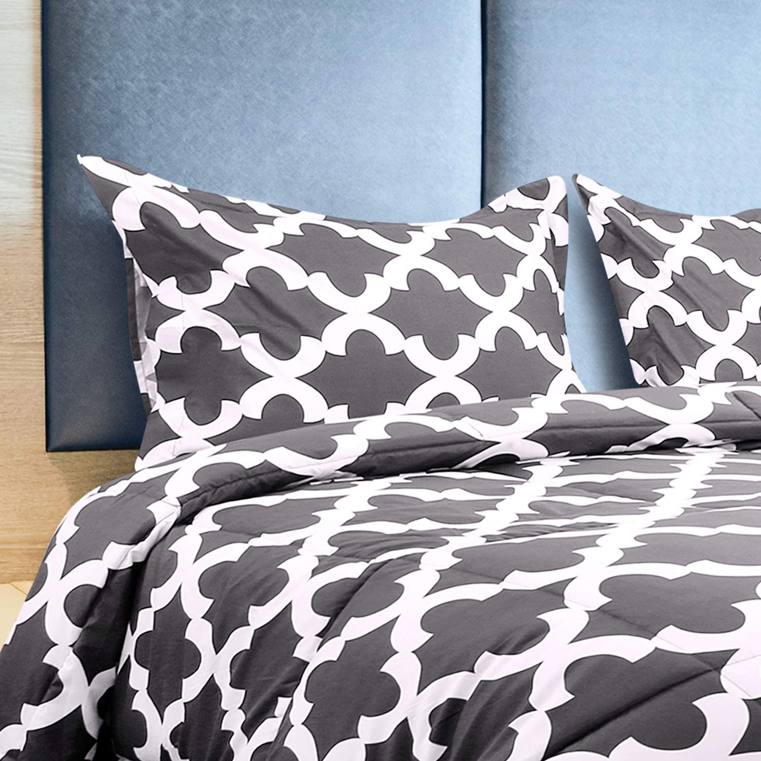Utopia Bedding Printed Comforter Set (Queen, Grey) with 2 Pillow Shams - Luxurious Brushed Microfiber - Down Alternative Comforter - Soft and Comfortable - Machine Washable: Home & Kitchen