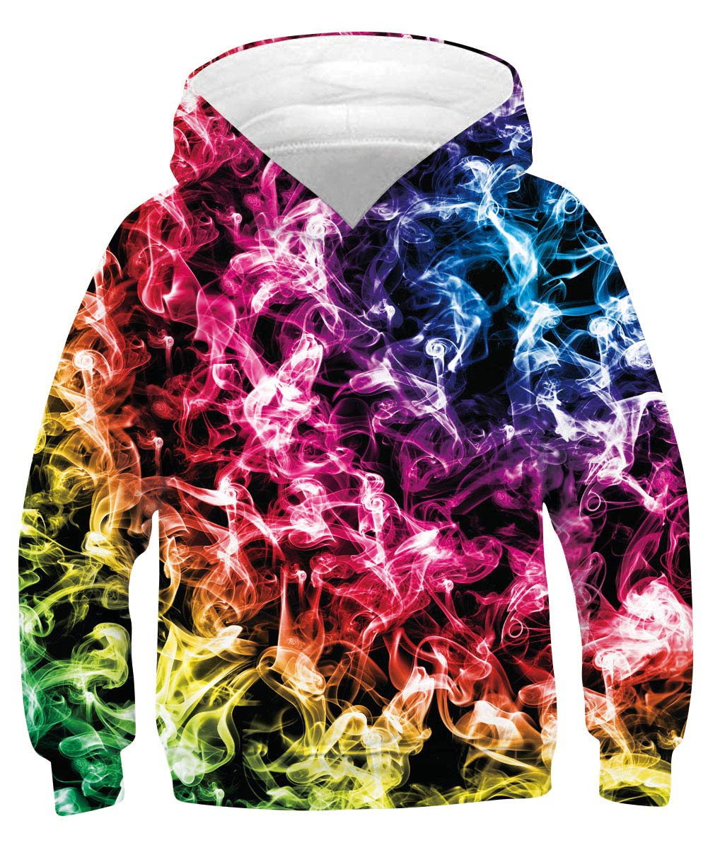 Custom Designer Hoodie 9t 10t 11t Teen Girls Boys Cute Patterned Pullover Sweatshirt Neon Pink Red Colorful Smog Smoke Warmth Hooded Shirt for Spring Fall Autumn Winter Cool Weather