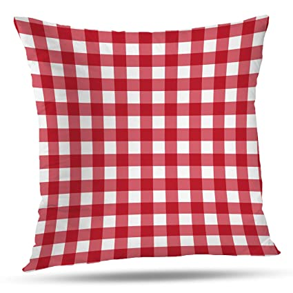 Amazon.com: Batmerry Gingham Pillow Covers 18x18 Inch, Red Gingham ...