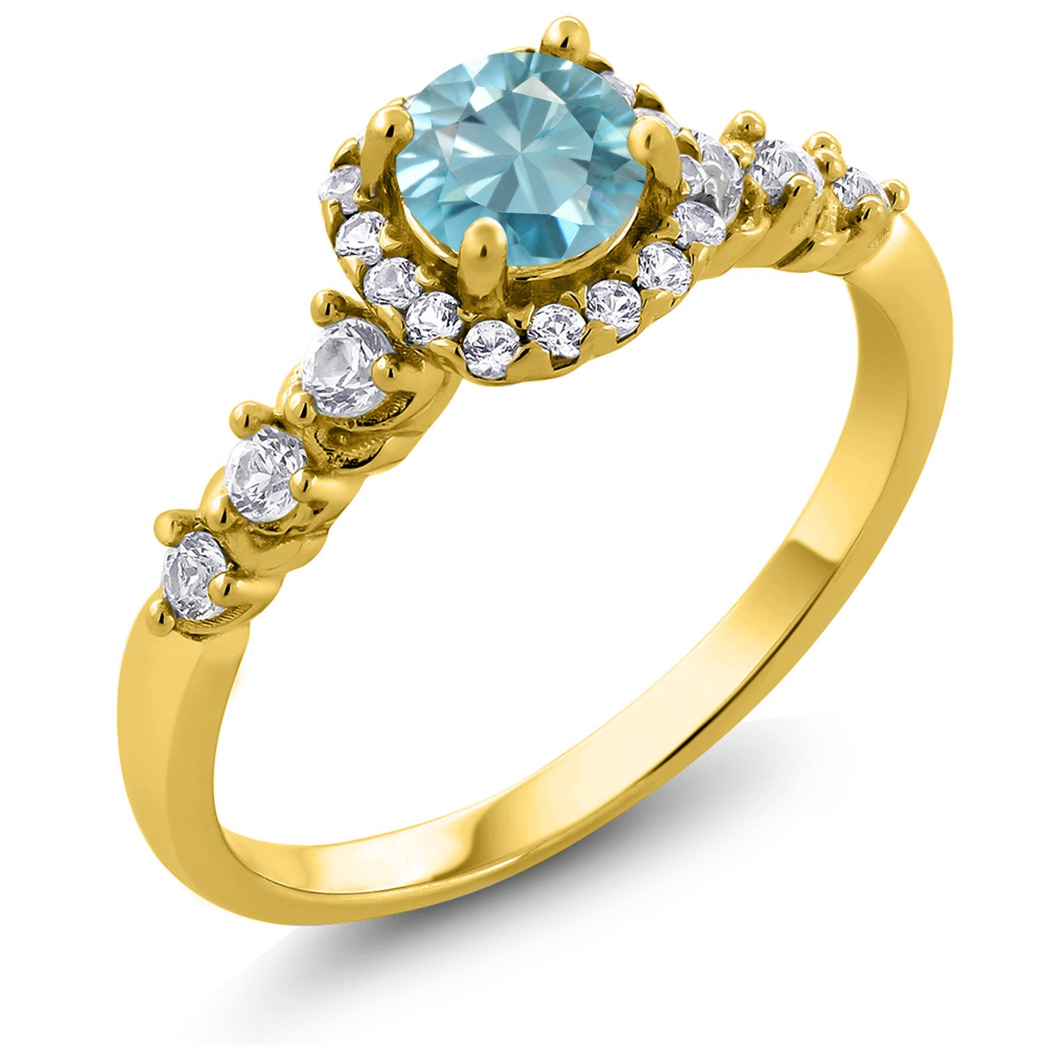 Gem Stone King 1.27 Ct Round Blue Zircon Created Sapphire 18K Yellow Gold Plated Silver Ring
