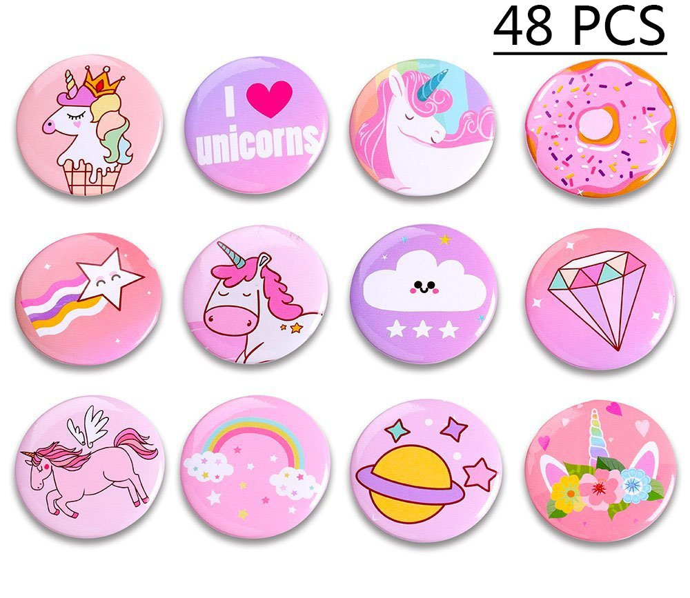 Geefuun Unicorn Pins Valentine's Day/Birthday Party Favors Decorations Girl Gift Badges Magical Rainbow Cards Supplies 3